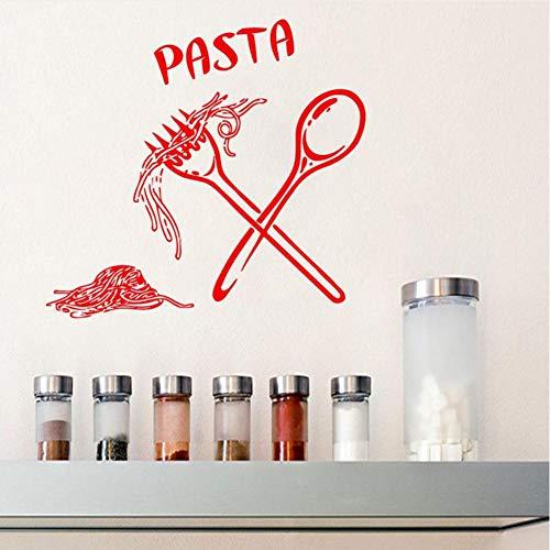 leber Lebensmittel Mahlzeit Löffel Gabel Aufkleber Wandtattoo Cafe Küche Fliesen Wand Dekorative Vinyl Wand Dekor 59 * 59 ()