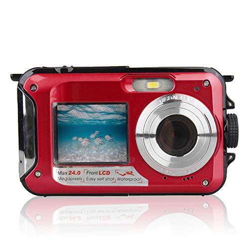 1080P Outdoor Selfie Digital Camera Double Screen Waterproof Full HD Underwater(Red) Underwater Digital Video Camera