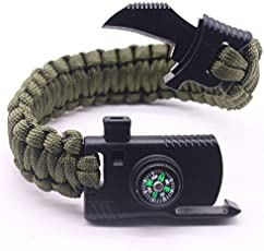 JISEN Paracord Bracelet Survival Gear Kit with Embedded Compass, Fire Starter Emergency Knife, Whistle (Green, JITC-XC-Z002-G)