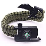 Outdoor Paracord Bracelet Survival Gear Kit with Embedded Compass Fire Starter Emergency Knife