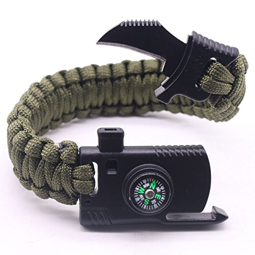 Quner Outdoor Survival Armbänder Notfall Paracord Kit mit Kompass,Feuerstein, Trillerpfeife, Messer für Camping Wandern(Grün)