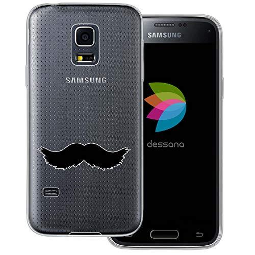 (dessana Mustache Transparente Schutzhülle Handy Case Cover Tasche für Samsung Galaxy S5 Mini Walross Bart)