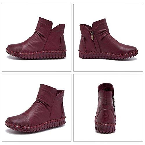 Femmina stivali in pelle cucito a mano retro breve spessa peluche con cerniera tacco piatto caldo scarpe casual, CAMEL-37 WINERED-40