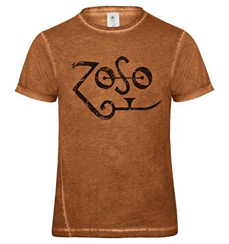 LaMAGLIERIA Herren T-Shirt Vintage Look Zoso Black Logo Grunge Print Cod. Grpr0119 - Männer Vintage DNM Plug-in T-Shirt mit Rock Vorderdruck, X-Large, Rusty Clash (Zoso Shirt)