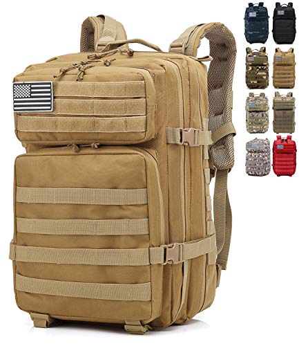 onyorhan Mochila Táctica Militar Molle Camuflaje Assault Pack Tactical Army Backpack / 40L (Caqui)