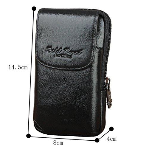 Genda 2Archer Pequeño Bolso de la Correa de Cintura Bolso del Teléfono Celular del Cuero (Negro)