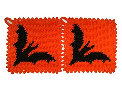 Storchenlädchen 1 Paar Topflappen Fledermaus gehäkelt Handarbeit Tier Tiere Fledermäuse Vampire