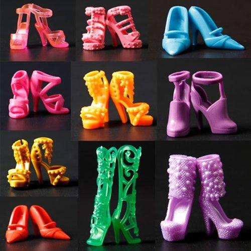 Preisvergleich Produktbild 10 paare Schuhe Barbie-Schuhe Pumps Stiefel Sandale Boot für Barbie Dolls Puppen