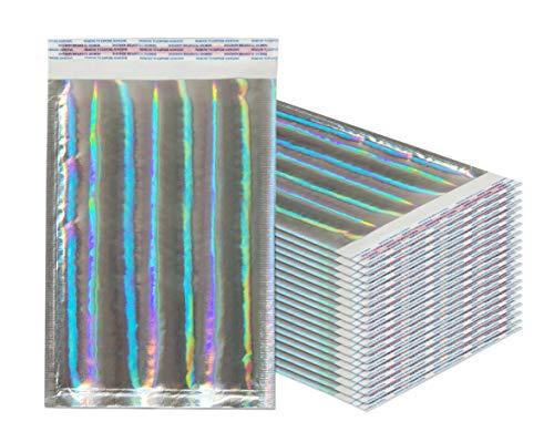 Amiff Luftpolsterversandtaschen, 7,25 x 11 cm 20 Stück Hologramm-Kissenumschläge Außengröße 8x12 (8x12) Mit Haftkleber. Holographisch. Glamour Metallic Folie Versand Versand