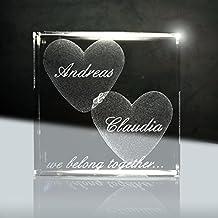 Cristallo, ti amo   Dado in vetro laser 3D da 50 mm con incisione   Il regalo per San Valentino o per l' anniversario