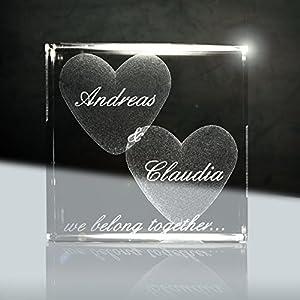 3D Laser Glaskristallwürfel | Layout: Herz mit deiner Wunschgravur (Namen, Datum und Zusatztexten – das ideale…
