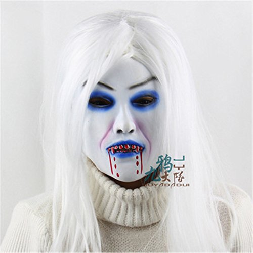 White Haired Hexe Bloody Christmas Halloween Props Horror Lustige Ghost Maske Kopfbedeckung Soft (Maske Scary Bloody Tragen)