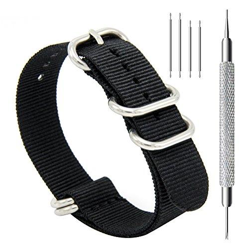CIVO Uhrband Heavy Duty G10 Zulu Militär Uhrenarmband NATO Premium Ballistisches Nylon Uhr Armband 5 Weiß Ringe mit Edelstahl Schnalle 20mm 22mm 24mm (black, 22mm) (Olive Strap Canvas)