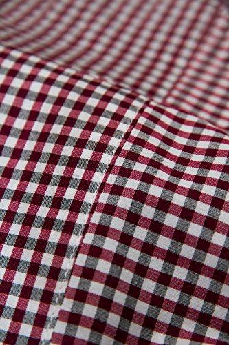 Men+ Herrenhemd in Übergröße Premium Qualität XL - 6XL -in Bordeauxrot, Blau, Schwarz Bügelleicht 100% Baumwolle Pflegeleicht Kariert Langarm Variokragen mit Tasche + Zufriedenheitsgarantie* Bordeaux