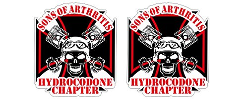 Sons of Arthritis Anarchy Hydrocodone Chapter Oldschool Eisernes Kreuz Iron Cross Rebel Biker Vintage Aufkleber Sticker Decal Autocollants Pegatinas + Gratis Schlüsselringanhänger aus Kokosnuss-Schale + Auto Motorrad Laptop Notebook Koffer Skateboard Snowboard Tuning Racing Motorsport (4 Aufkleber 8.7x10cm) (Iron Cross Decal)
