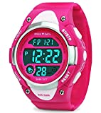Relojes digitales para niñas regalos - Niños deportes al aire libre reloj con LED, 5 ATM Deportes infantiles impermeables relojes electrónicos con reloj despertador para adolescentes Rose por RSVOM