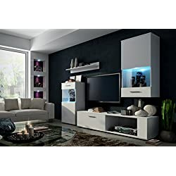 ANNE Moderno Conjunto De Muebles De Salón (Blanco MAT base / Blanco MAT frente, RGB remoto)