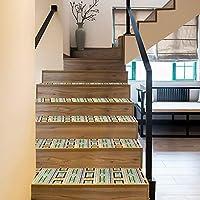 Sticker African Tribal Style Fabric Texture PVC Stair Sticker Tread Sticker Step Sticker Non-Slip Home Floor Sticker