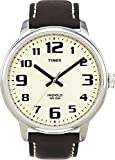 Timex Men's 43mm Brown Calfskin Band Steel Case Quartz White Dial Analog Watch T28201
