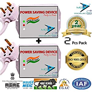 MD Proelectra (MDP08) Power Saver Updated Electricity Saving Device Electricity Saver for Residential and Commercial (Black) -Pack of 2 Pieces