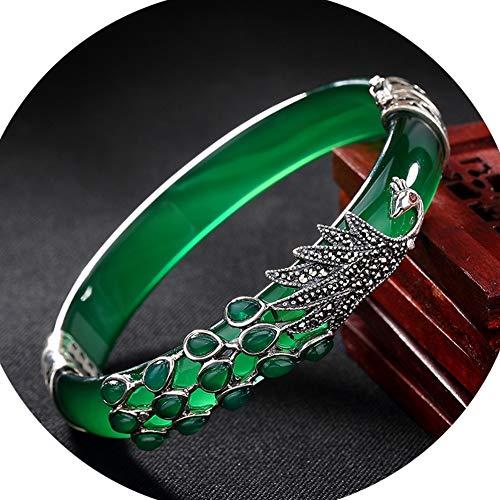 Jade Natürliche Grüne Armband 925 Sterling Silber Edelstein Handgemacht Einzigartiges Muster Design Schmuck Weihnachten, C