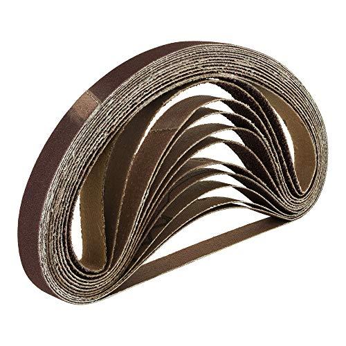 Lot de 96 bandes abrasives renforcées en tissu - 13 x 457 mm - 16 bandes dans chaque grain suivant: 40, 60, 80, 120, 180, 240 -...