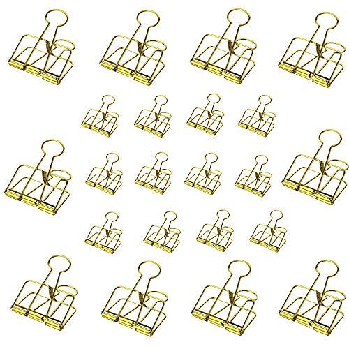 10 Stück Foldback-Klammern 32 mm breit starke Stahlklemmen für bis zu 100 Blatt zusammen (goldfarben, 10 m). Golden,10M+12S Goldenen Blättern