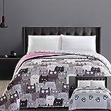 DecoKing 32350 Tagesdecke 220x240 cm Mikrofaser Bettüberwurf Steppung zweiseitig Pflegeleicht grau Stahl anthrazit Grafit schwarz weiß rosa Katzen Cats' Invasion