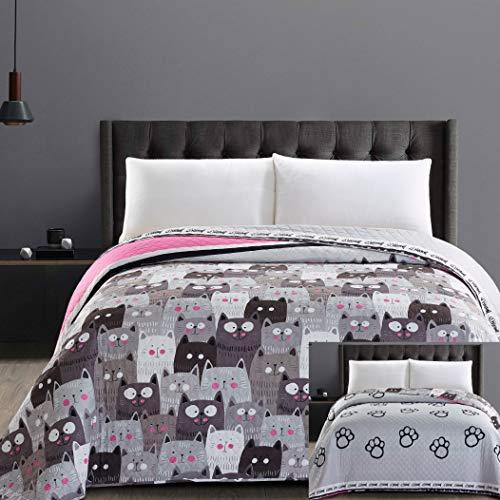 DecoKing 32350 Tagesdecke 220x240 cm Mikrofaser Bettüberwurf Steppung zweiseitig pflegeleicht grau Stahl anthrazit Grafit schwarz weiß rosa Katzen Cats\' Invasion