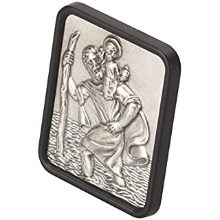 hr-imotion rechteckige Sankt Christopherus Plakette aus Edelstahl [Made in Germany   selbstklebend   35x42mm] - 10210401