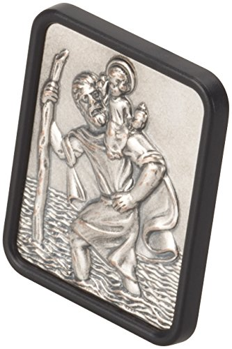 hr-imotion rechteckige Sankt Christopherus Plakette aus Edelstahl [Made in Germany | selbstklebend | 35x42mm] - 10210401