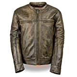Men's Distressed Brown Leather Scooter Jacket w/Triple Stitch Detailing Motorcycle Jacket (Large)