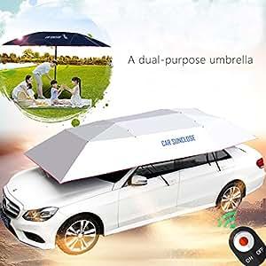 YIKESHU Car Tent Semi Automatic Folded Portable Automobile Protection Umbrella Sunproof Car Hood (Silver)