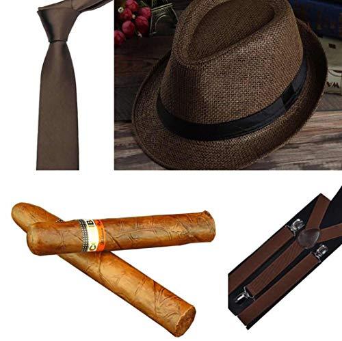 thematys Al Capone Mafia Gangster Hut + Krawatte + Hosenträger + Zigarre - 20er Jahre Kostüm-Set für Damen & Herren - perfekt für Fasching & Karneval (Dunkelbraun)