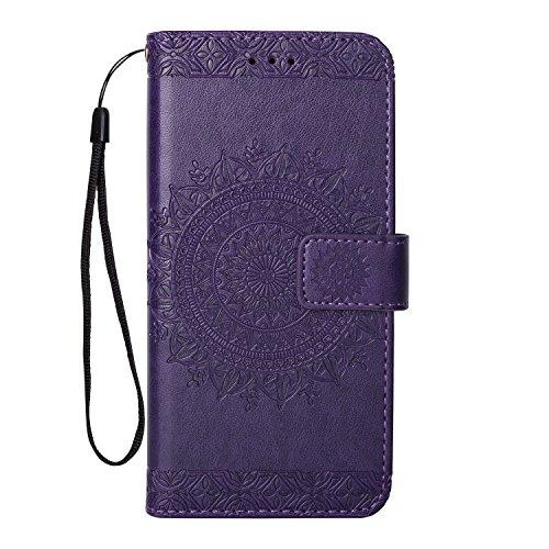 Yobby Leder Brieftasche Hülle für Samsung Galaxy A6 2018, Lila Handyhülle Geprägt Mandala Muster Schlank Premium PU Flipcase [Magnetverschluss] mit Kartenfach Handschlaufe Stand Schutzhülle - Geprägtes Leder Stamm