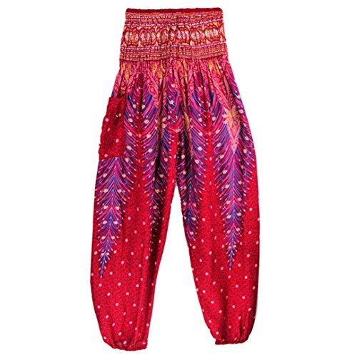 ESAILQ Femme Pantalons Bouffant Large Bande Stretch a la Taille Floral Imprime Taille Haute-Bloomer Elastique Extensible (Vin Rouge, Taille Unique)