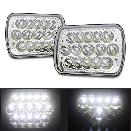 AUXTINGS LED-Scheinwerfer 12,7x17,8 cm 17,8x15,2 cm, rechteckig Schwarz für Wrangler YJ Cherokee XJ H6054 H6054LL 69822 6052 6053