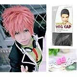 Japanese Anime Wigs @ Blue Exorcist shima renzou 35cm Pink Short Straight + Wigs Cap + Anti-dust Plug Stopper