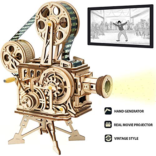 ROKR Puzzle in Legno Vitascope, Kit di Costruzione di Modelli Meccanici, Kit di Costruzione Modello di ingegneria, proiettore cinematografico Classico a Mano per Adulti e Adolescenti