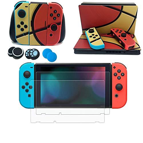 easyCool Vinyl-Set Aufkleber für Nintendo Switch (Konsole & Joy-Con & Dock) mit 2 Displayschutzfolien aus gehärtetem Glas, 6 Stück Silikon-Daumenstick-Kappen - Basketball