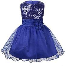 iEFiEL Vestido de Princesa Traje de Ceremonia con Flor para Bebé Niña Vestido Largo de Fiesta