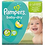 Pampers Baby Taille Sèche 6 + (Extra Large De + ) Pack Essentiel Des Couches 30 -