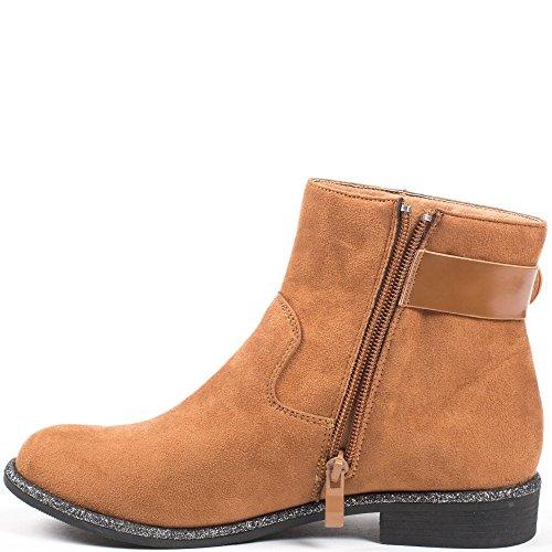 Ideal Shoes - Bottines effet daim avec ceinturon et liseré pailleté Celanie Camel
