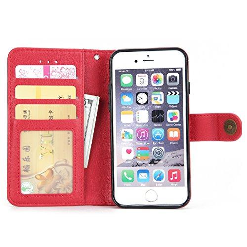 iPhone 6 / iPhone 6s Caso, Lifeepro Resistente ai Graffi Protettivi Bumper ID Carte di Credito Slot Pelle PU Wallet Case Flip Stand Function con Cassa e Fibbia Staccabili for iPhone 6 / iPhone 6s Case Rosso