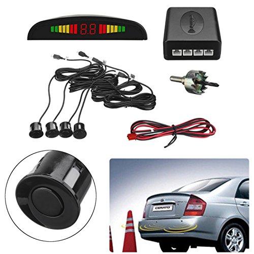 JenNiFer Car Reverse System 4 Parking Sensor Radar Kit LCD Displayer Buzzer Alarm Rear - Lcd-verriegelung Kit