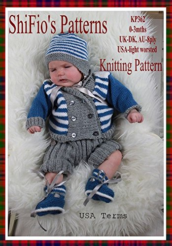 Knitting Pattern - KP362 - baby jacket, hat, pants & booties - 0-3mths - USA Terminology (English Edition) -