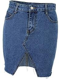eaede09e08ff P Prettyia Jupe Jeans Femme Denim Jupe Filles Slim Dechiré Mini Jupe Taille  Haute Été Jupe