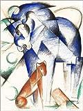 Posterlounge Alu Dibond 100 x 130 cm: Fabeltiere (Blaues Pferd und Roter Hund) von Franz Marc