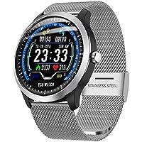 N58 Smartwatch Fitness Armband | Pulsmesser Tracker IP67 Wasserdicht, EKG Messung, Schlaf Monitor Kalorienzähler GPS, Sport Fitness Tracker für Damen Herren mit iOS Android (Milanese❤️ Silber)
