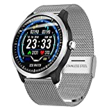 Fulltime E-Gadget Intelligente Uhr 1,22-Zoll-EKG-Anzeige Blutdruck-Herzfrequenzmonitor 3D-UI-Tracker IP67 Wasserdicht Smart Watch (Silber)